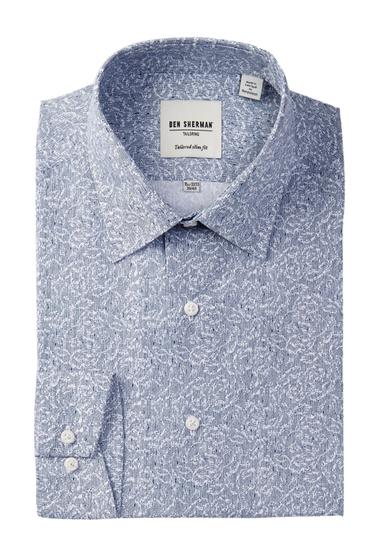 Imbracaminte Barbati Ben Sherman Long Sleeve Tailored Slim Fit Linear Floral Dress Shirt BLUE