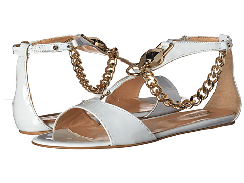 Incaltaminte Femei Just Cavalli Patent Leather with Metal Snake Off-White