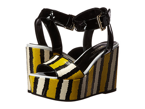 Incaltaminte Femei Just Cavalli Striped Printed Leather and Patent Leather Lemon