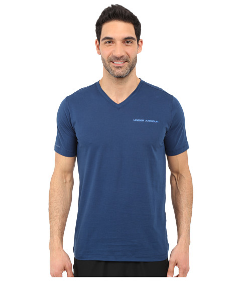 Imbracaminte Barbati Under Armour UA Charged Cottonreg Microthread V-Neck Short Sleeve Tee Blackout NavySquadron