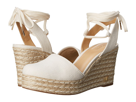 Incaltaminte Femei Michael Kors Margie Closed Toe Wedge Natural Small Weave Canvas