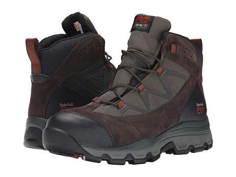 Incaltaminte Barbati Timberland Rockscape Mid Steel Safety Toe Brown SuedeRed Pops