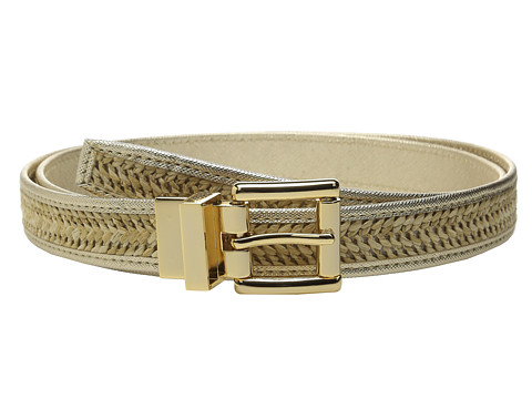 Accesorii Femei Michael Kors 25mm Reversible Straw Belt with Saffiano Binding and Eyelets Gold