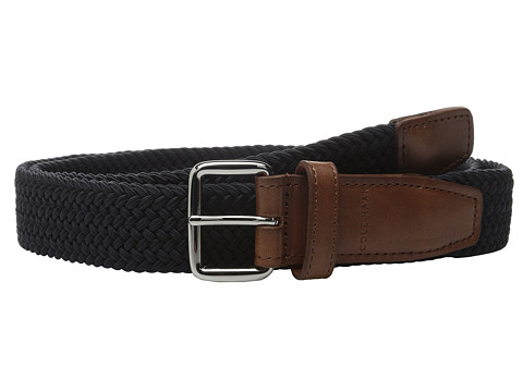 Accesorii Barbati Cole Haan 35mm Woven Elastic Strap with Leather Trim Belt Navy