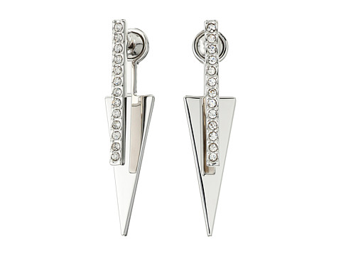 Bijuterii Femei Rebecca Minkoff Pave Bar and Triangle FrontBack Earrings Imitation Rhodium with Crystal