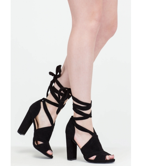 Incaltaminte Femei CheapChic Totally To Tie For Lace-up Chunky Heels Black