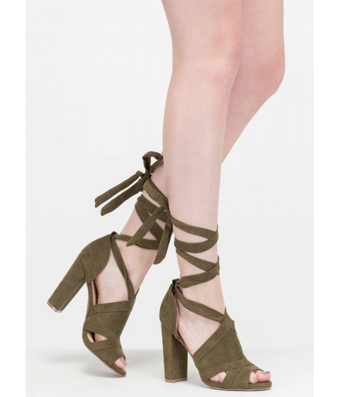 Incaltaminte Femei CheapChic Totally To Tie For Lace-up Chunky Heels Olive