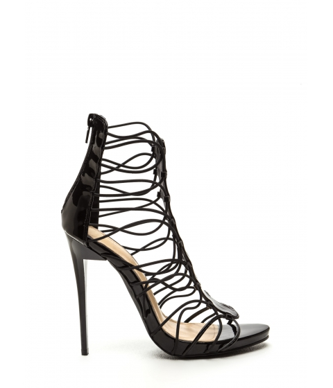 Incaltaminte Femei CheapChic X-off Caged Faux Leather Stiletto Heels Black