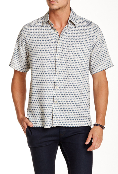 Imbracaminte Barbati Toscano Short Sleeve Bias Check Shirt OFF WHITE