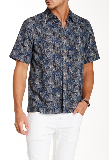 Imbracaminte Barbati Toscano Leaf Print Short Sleeve Shirt DARK NAVY