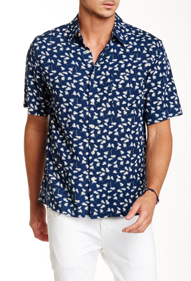 Imbracaminte Barbati Toscano Feather Print Short Sleeve Shirt DARK NAVY