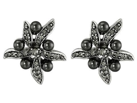 Bijuterii Femei Oscar de la Renta Flower Pearl Button Earrings Black DiamondSilver