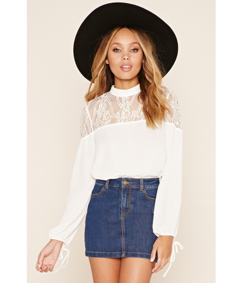 Imbracaminte Femei Forever21 Floral Lace-Paneled Top White