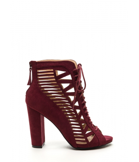 Incaltaminte Femei CheapChic Pencil You In Lace-up Caged Heels Burgundy
