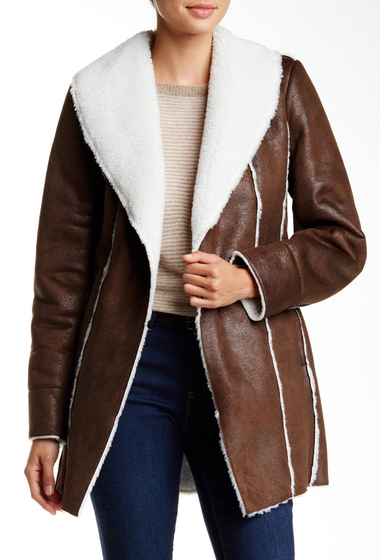 Imbracaminte Femei Kenneth Cole New York Faux Shearling Coat BROWN