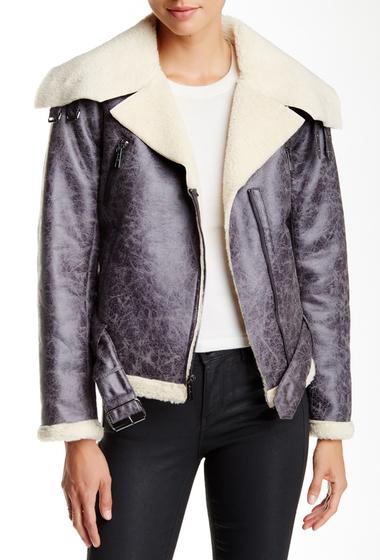 Imbracaminte Femei Kenneth Cole New York Faux Fur Trim Moto Jacket GREY