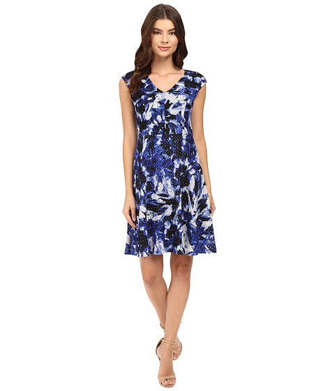 Imbracaminte Femei London Times Van Gogh Flower Vnk Fit And Flare Dress Royal