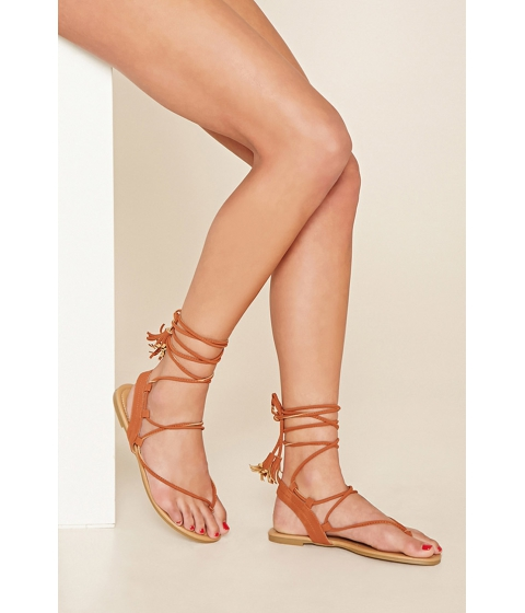 Incaltaminte Femei Forever21 Faux Suede Lace-Up Sandals Brown