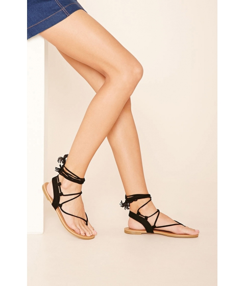 Incaltaminte Femei Forever21 Faux Suede Lace-Up Sandals Black