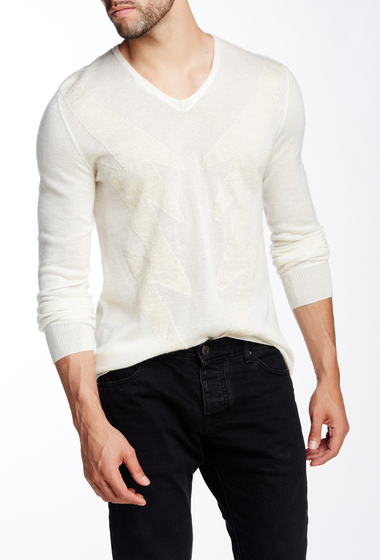 Imbracaminte Barbati John Varvatos Collection Graphic Knit V-Neck Sweater ANTIQUE WH