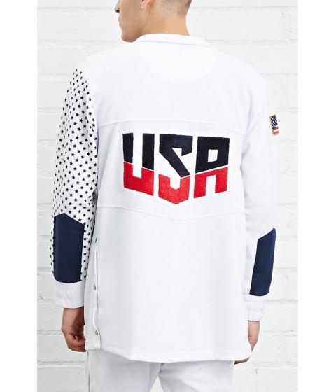 Imbracaminte Barbati Forever21 Entree USA Athletic Jacket White