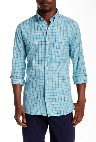 Imbracaminte Barbati Bonobos Hubert Tattersall Long Sleeve Slim Fit Shirt AQUA