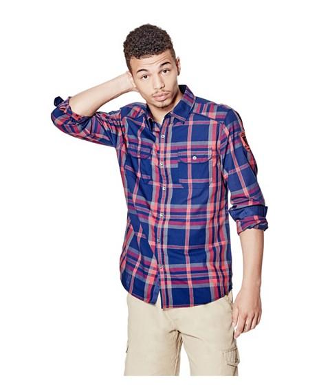 Imbracaminte Barbati GUESS Nowell Slim-Fit Plaid Shirt blue