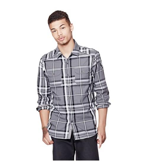 Imbracaminte Barbati GUESS Nowell Slim-Fit Plaid Shirt grey steel