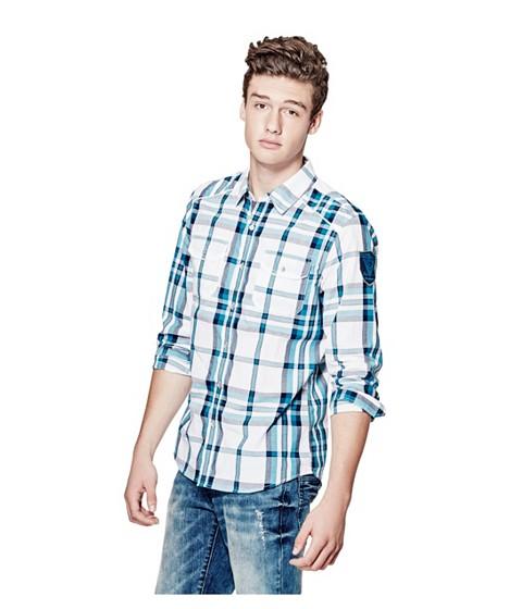 Imbracaminte Barbati GUESS Nowell Slim-Fit Plaid Shirt true white