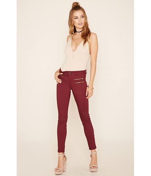 Imbracaminte Femei Forever21 Zipper-Front Skinny Jeans Burgundy