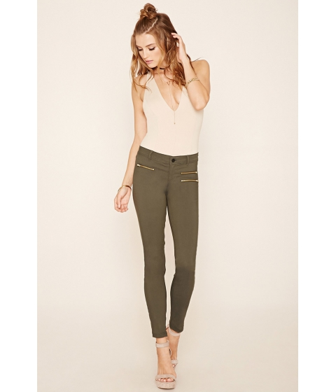 Imbracaminte Femei Forever21 Zipper-Front Skinny Jeans Olive