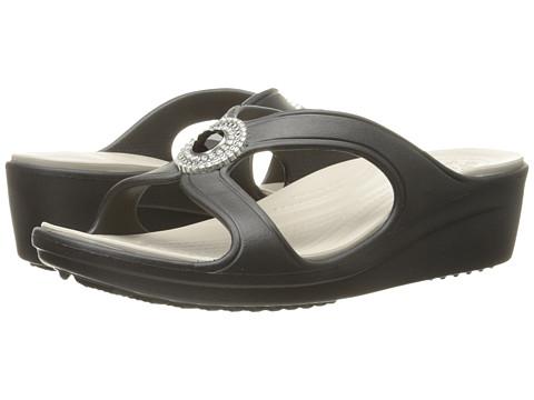 Incaltaminte Femei Crocs Sanrah Beaded Wedge Sandal BlackPlatinum