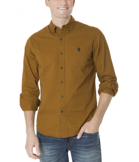 Imbracaminte Barbati US Polo Assn SLIM FIT LONG SLEEVE COTTON TWILL SHIRT BROWN LEATHER
