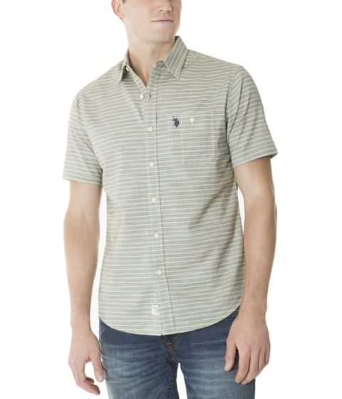 Imbracaminte Barbati US Polo Assn SLIM FIT SHORT SLEEVE STRIPE SHIRT WITH SLUB OLIVE BRANCH