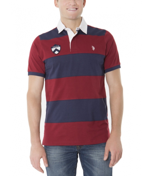 Imbracaminte Barbati US Polo Assn RUGBY STRIPE PATCH POLO SHIRT UNIVERSITY RED