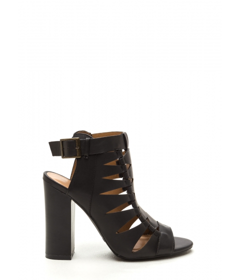 Incaltaminte Femei CheapChic Lined Up Faux Leather Chunky Heels Black