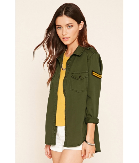 Imbracaminte Femei Forever21 Chevron Patch Utility Jacket Olive