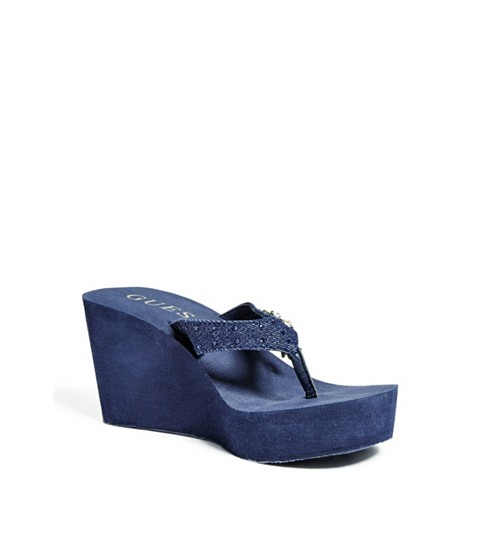 Incaltaminte Femei GUESS Selbee Wedge Flip-Flops dark blue fabric