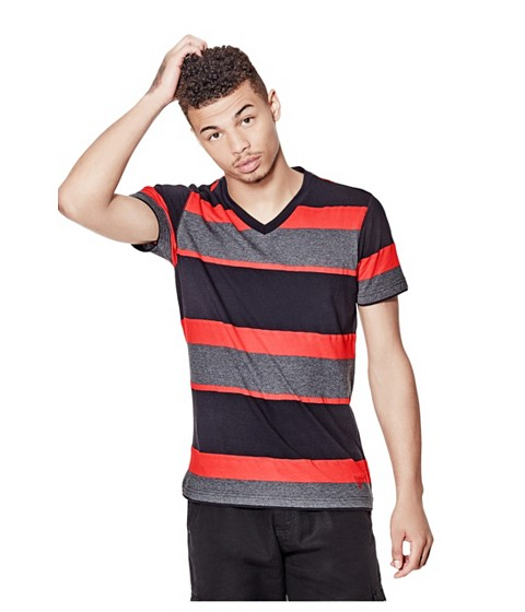Imbracaminte Barbati GUESS Balfore Striped V-Neck Tee red hot