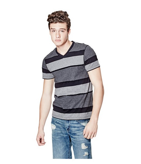 Imbracaminte Barbati GUESS Balfore Striped V-Neck Tee jet black