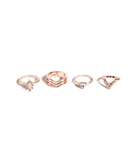Bijuterii Femei GUESS Rose Gold-Tone Pave Geo Ring Set rose gold