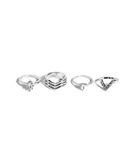 Bijuterii Femei GUESS Silver-Tone Pave Geo Ring Set silver