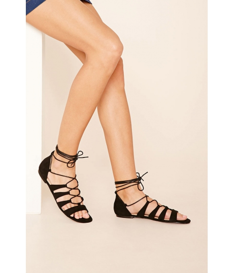 Incaltaminte Femei Forever21 Faux Suede Lace-Up Sandals Tan