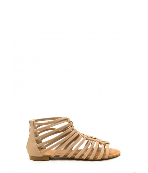 Incaltaminte Femei CheapChic Keep In Line Caged Faux Nubuck Sandals Nude