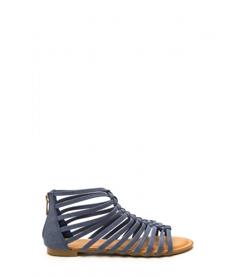 Incaltaminte Femei CheapChic Keep In Line Caged Denim Sandals Denim