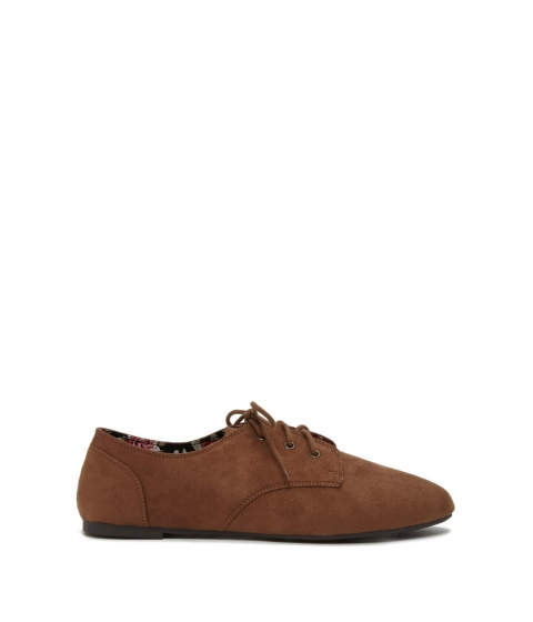 Incaltaminte Femei Forever21 Faux Suede Oxfords Brown