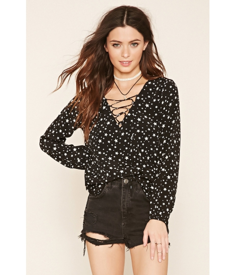 Imbracaminte Femei Forever21 Star Print Lace-Up Blouse Blacktan