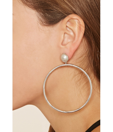 Bijuterii Femei Forever21 Etched Hoop Drop Earrings Silver
