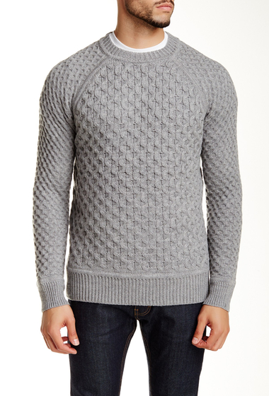 Imbracaminte Barbati Billy Reid Honeycomb Crew Neck Wool Sweater LTGRY MLNG