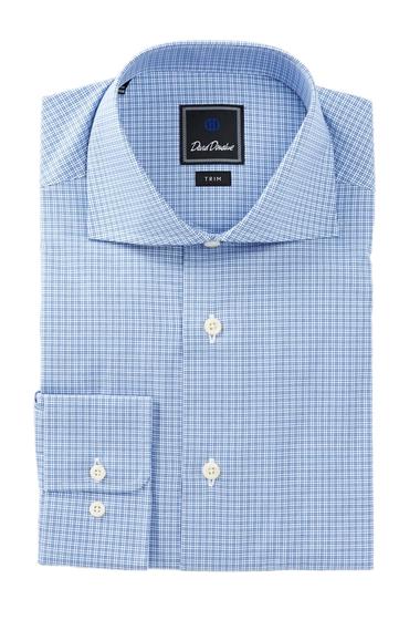 Imbracaminte Barbati David Donahue Long Sleeve Trim Fit Check Dress Shirt NAVY